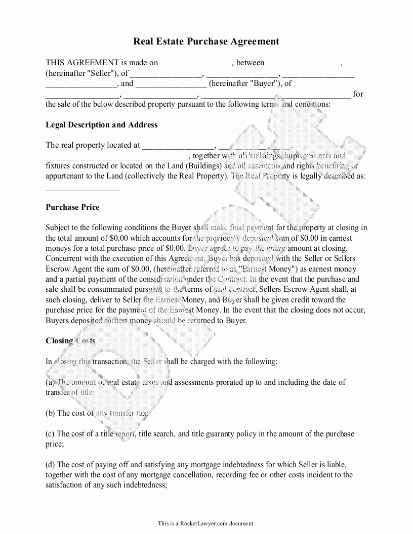 Free Real Estate Contract Elegant Real Estate Purchase Agreement form Free Templates with