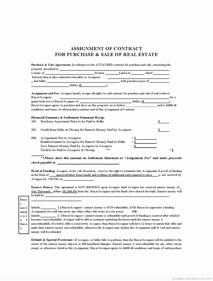 Free Real Estate Contract Inspirational Sample Printable assignment Of Contract form