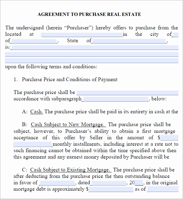 Free Real Estate Contract Lovely Real Estate Purchase Agreement 7 Free Pdf Download