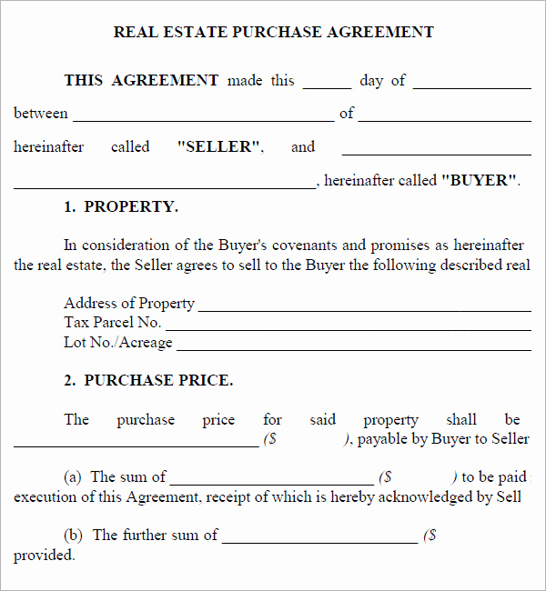 Free Real Estate Contract Luxury Real Estate Purchase Agreement 7 Free Pdf Download