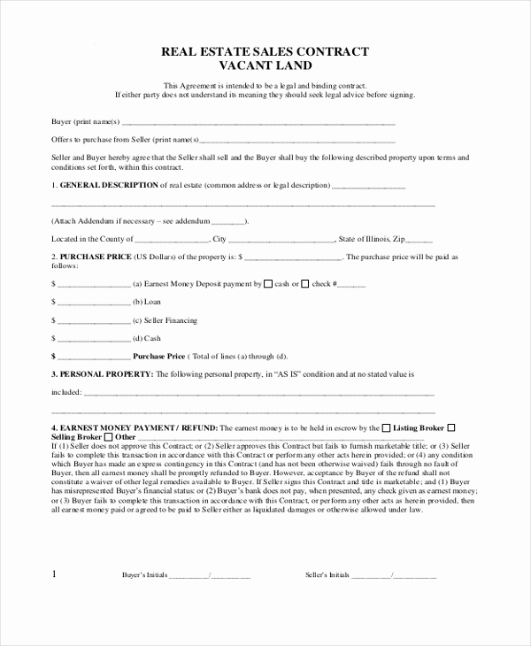 Free Real Estate Contract Luxury Sample Real Estate Sales Contract form 8 Free Documents
