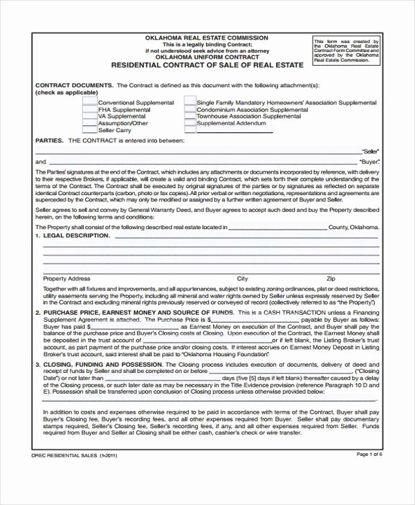 Free Real Estate Contract New 38 Sample Free Contract forms