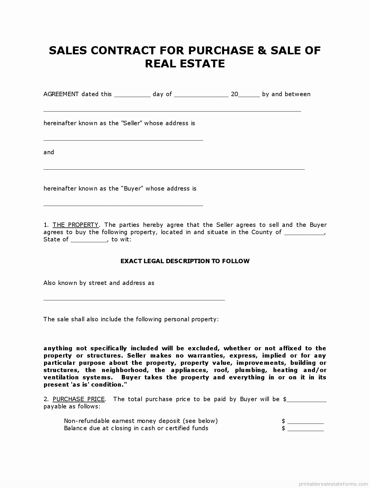 Free Real Estate Contract Unique Get High Quality Printable Simple Land Contract form