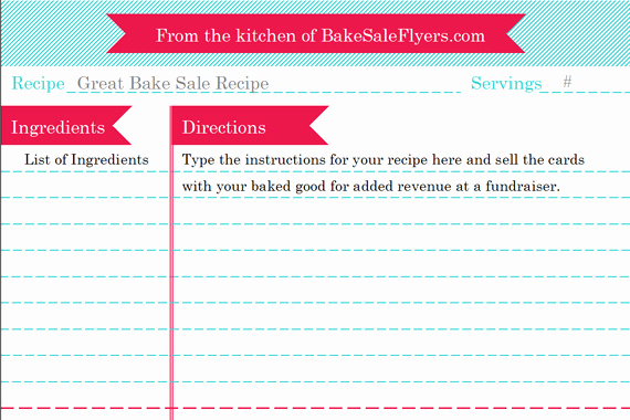 Free Recipe Template for Word Best Of Bake Sale Flyers – Free Flyer Designs