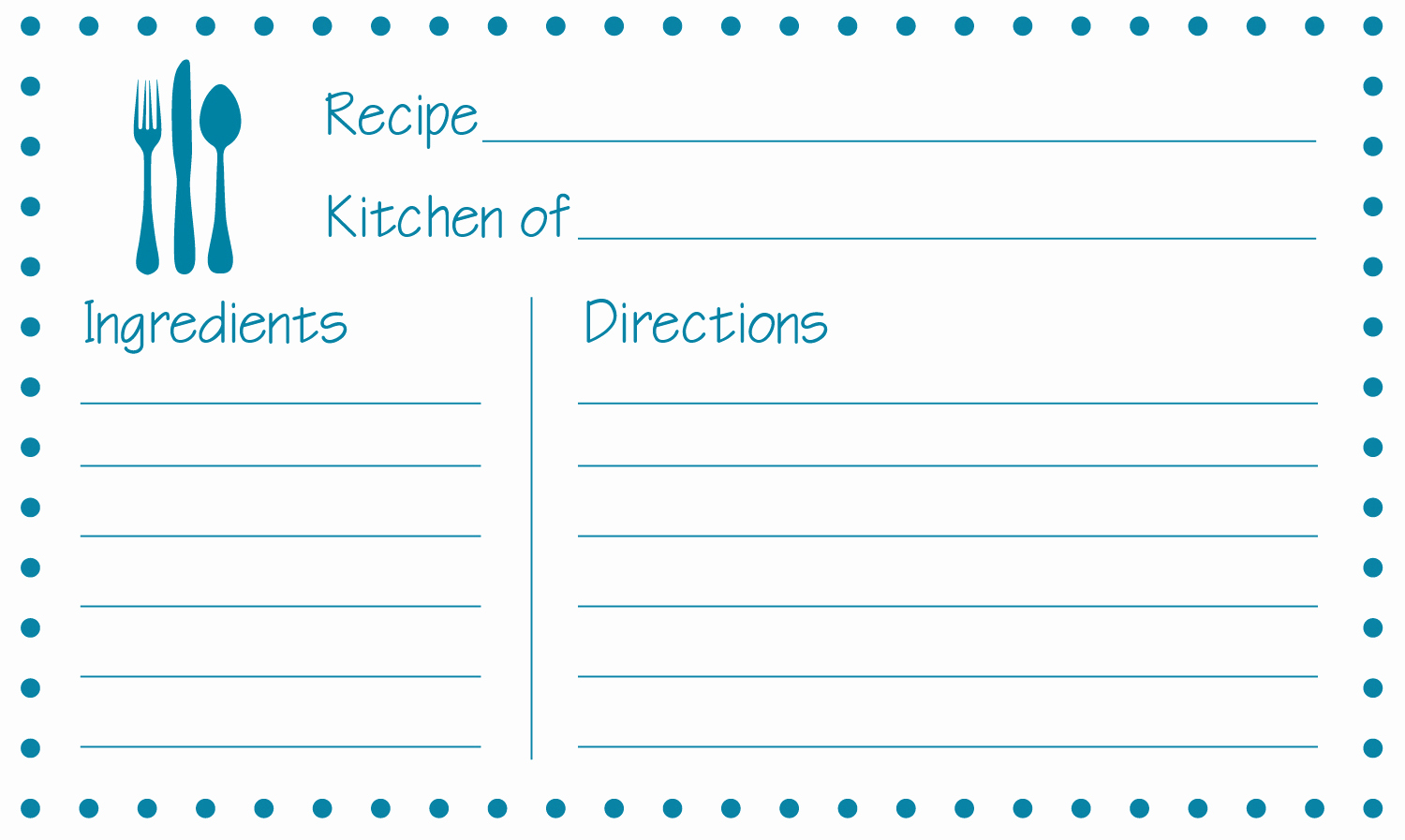 Free Recipe Template for Word Elegant Free Printable Recipe Cards