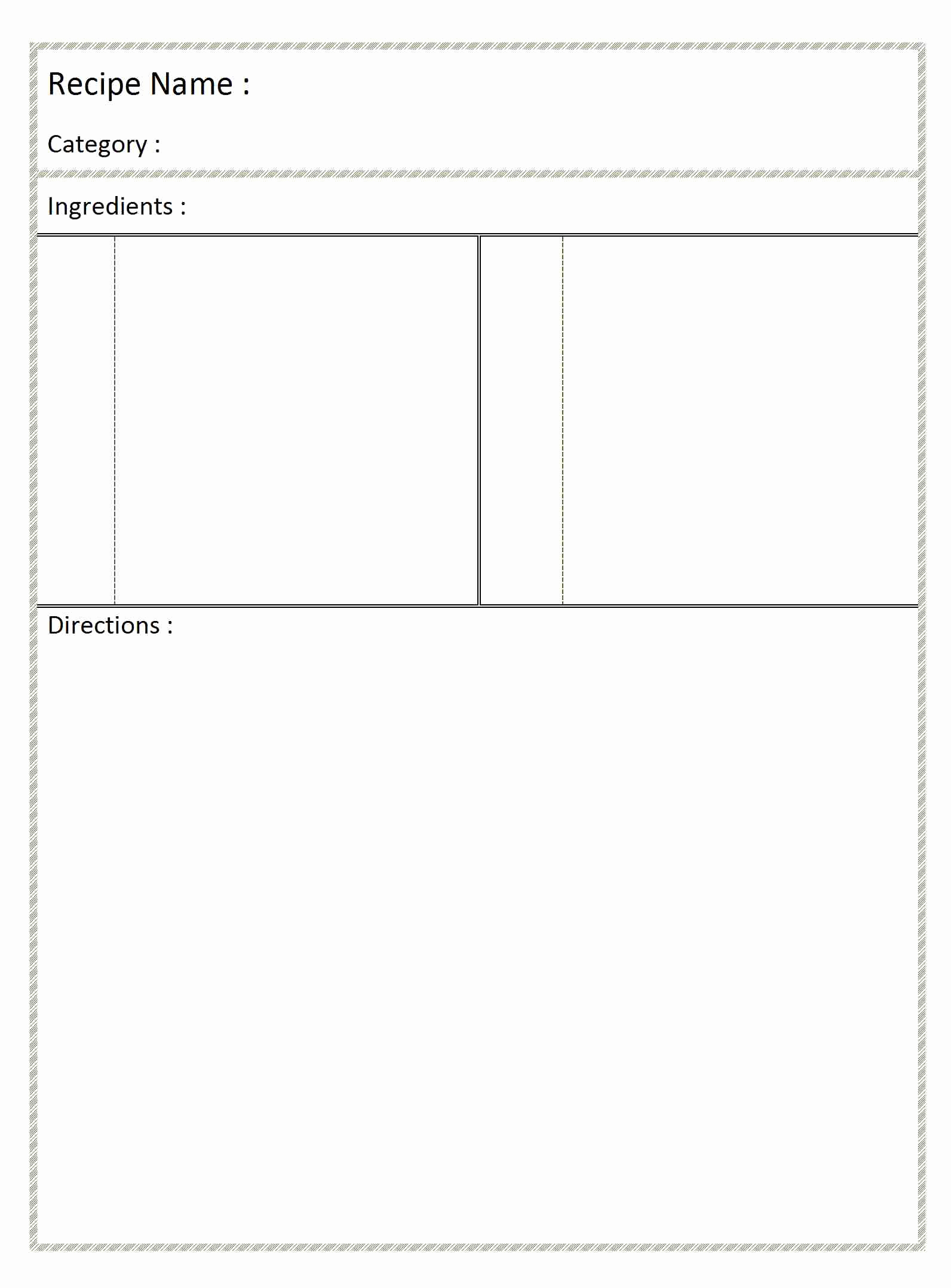 Free Recipe Template for Word Lovely Blank Recipe Card
