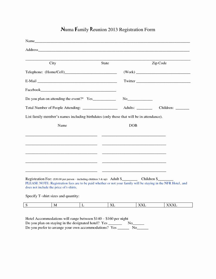 Free Registration form Template Awesome Family Reunion Registration form Template