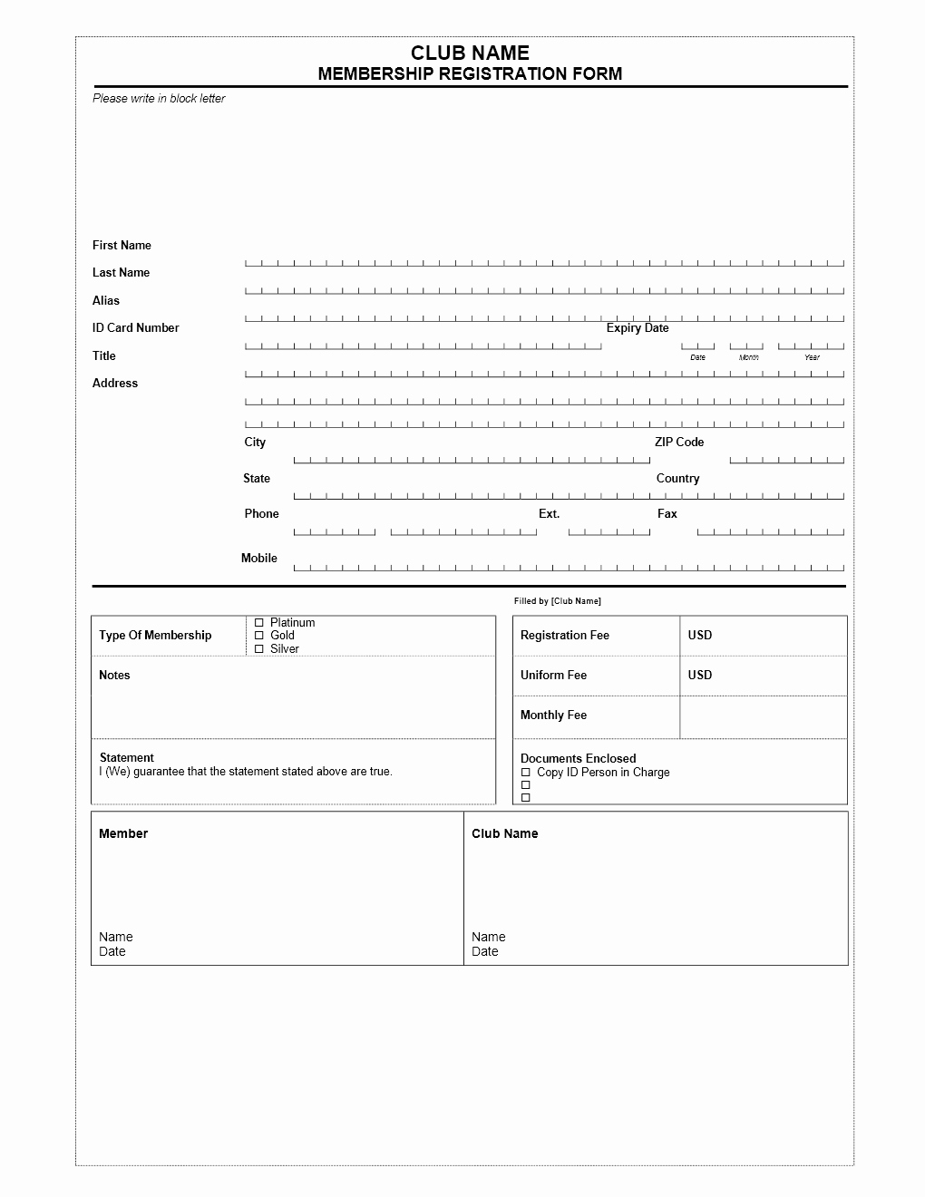 Free Registration form Template Beautiful Club Membership Application form