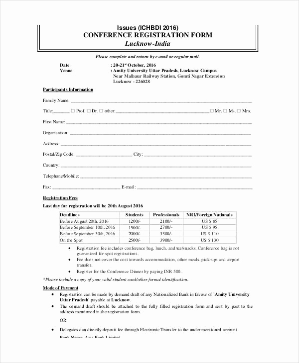 Free Registration form Template Beautiful Printable Registration form Templates 9 Free Pdf