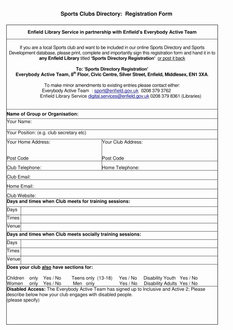 Free Registration form Template Unique 6 Sport Sign Up Sheet Templates Pdf