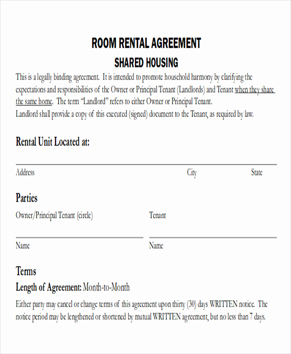 Free Rental Agreement Pdf Awesome 8 Room Rental Agreement form Sample Examples In Word Pdf