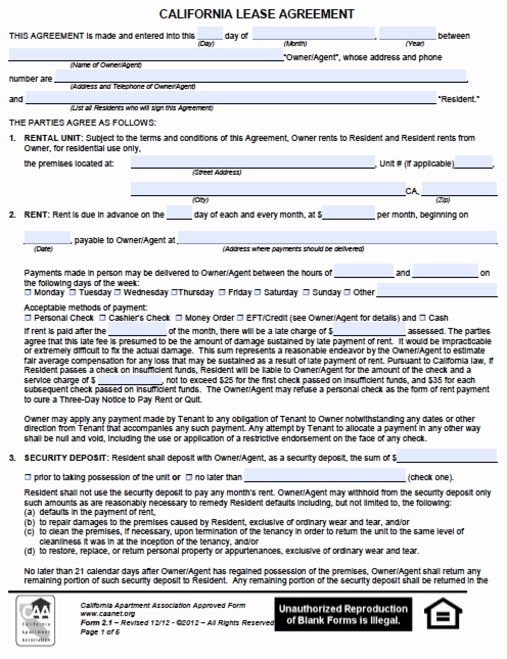 Free Rental Agreement Pdf Awesome Free California Residential Lease Agreement Pdf