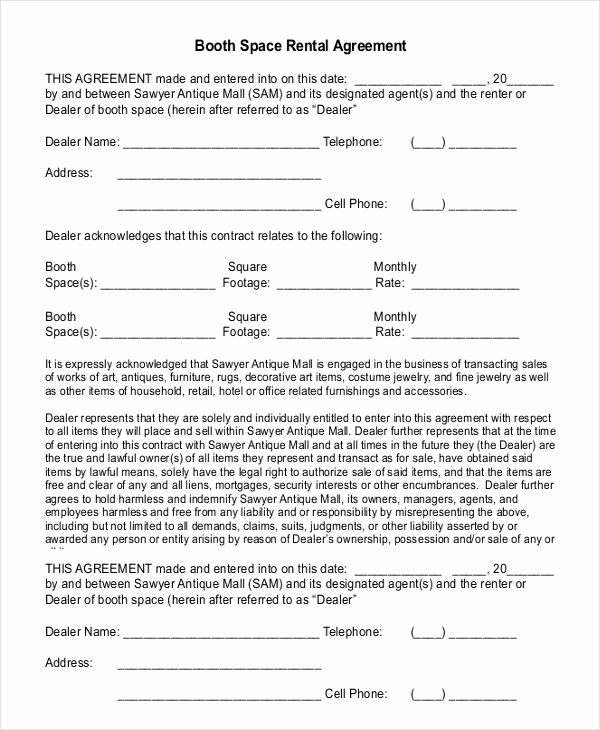 Free Rental Agreement Pdf Beautiful 18 Booth Rental Agreement Templates Free Downloadable