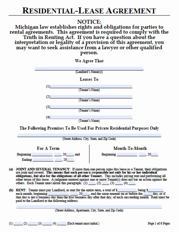 Free Rental Agreement Pdf Inspirational Free Michigan Month to Month Lease Agreement Pdf