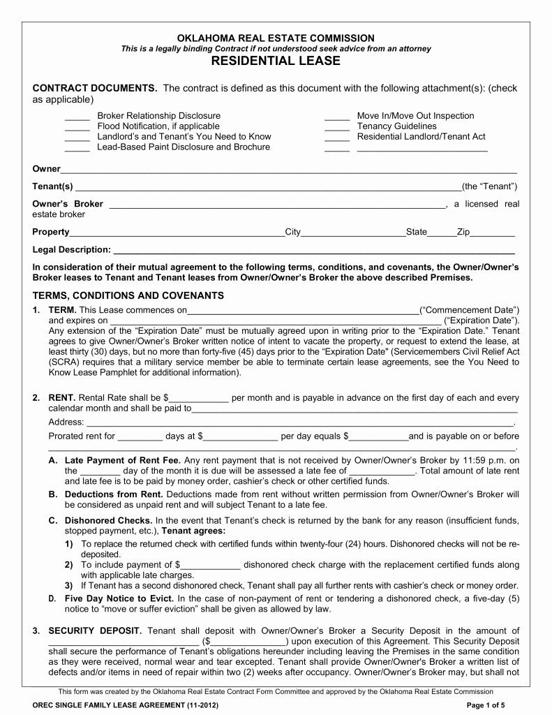 Free Rental Agreement Template Beautiful Free Oklahoma Standard Residential Lease Agreement