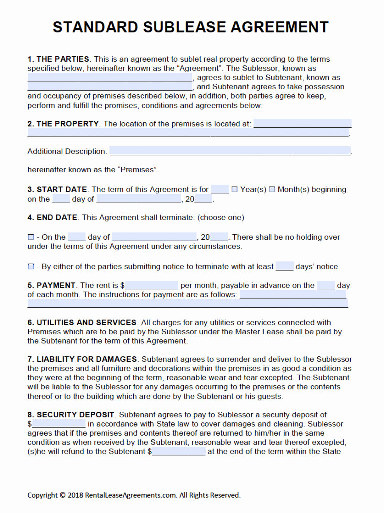 Free Rental Agreement Template Fresh Free Printable Rental Lease Agreement Templates