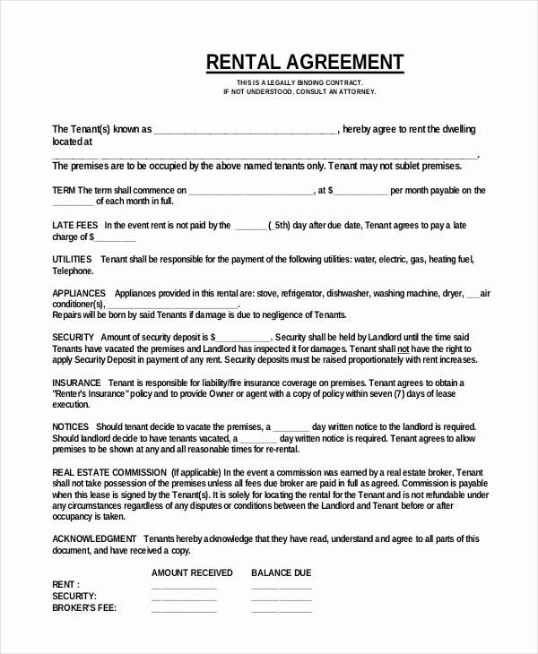 Free Rental Agreement Template Fresh Simple E Page Mercial Rental Agreement Pdf Free