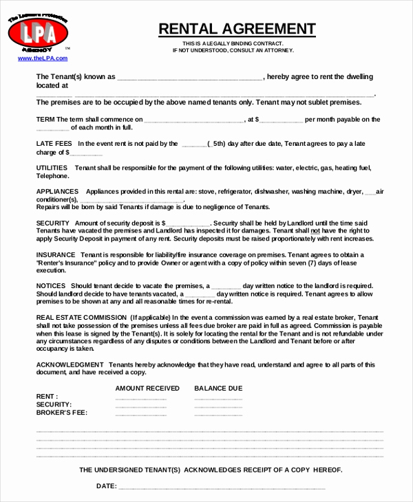 Free Rental Agreement Template Lovely 17 Free Rental Agreement Templates – Free Sample Example