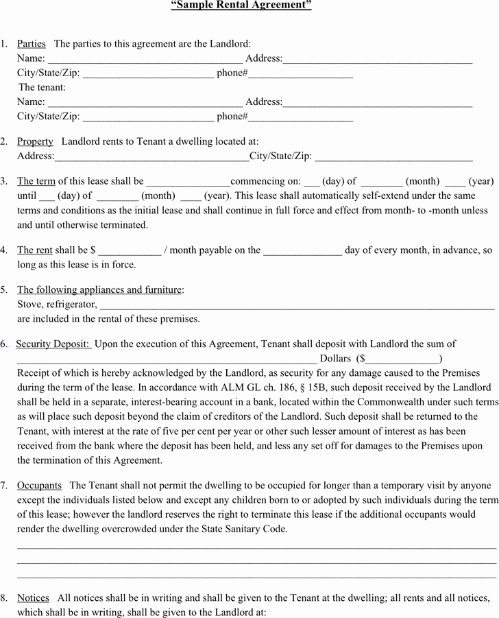 Free Rental Agreement Template Unique Rent Agreement Examples
