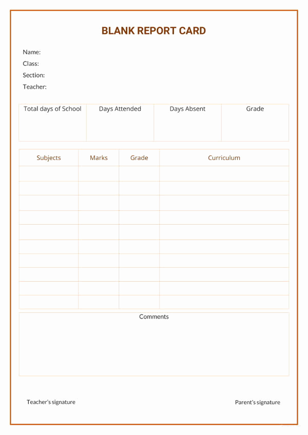 Free Report Card Template Awesome 17 Report Card Template 6 Free Word Excel Pdf