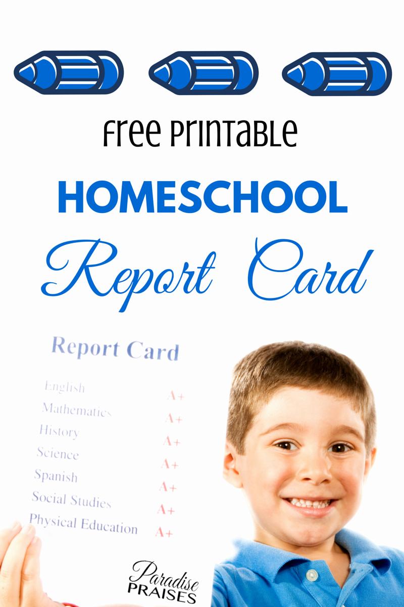 Free Report Card Template Elegant Free Homeschool Report Card [printable]