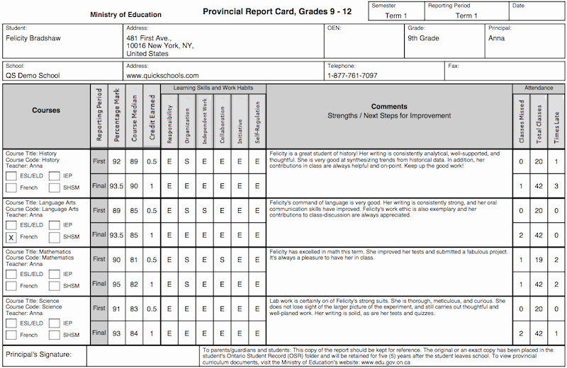 Free Report Card Template Elegant the Tario Province Report Card Template