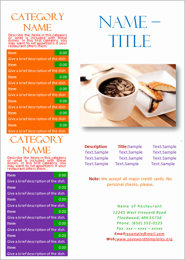 Free Restaurant Menu Templates Awesome 19 Great Printable Food Menu Templates