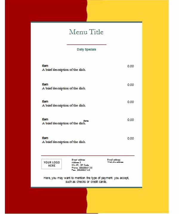 Free Restaurant Menu Templates Elegant Free Restaurant Menu Templates Microsoft Word Templates