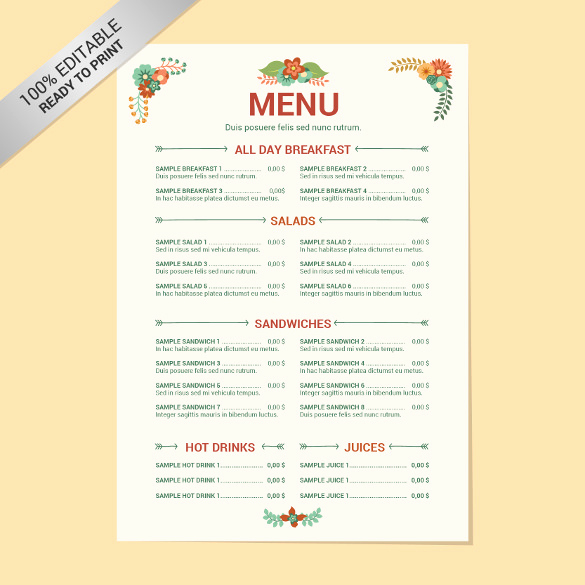 Free Restaurant Menu Templates Fresh 23 Free Menu Templates Pdf Doc Excel Psd