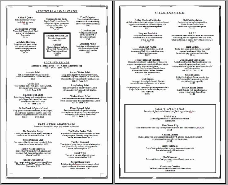 Free Restaurant Menu Templates Inspirational Menu Printable Gallery Category Page 1 Printablee