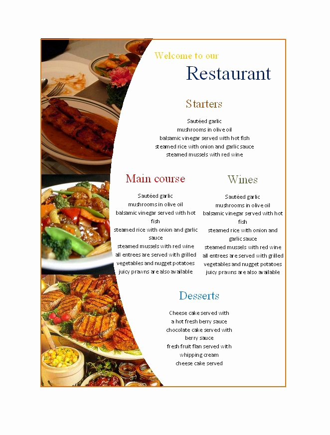 Free Restaurant Menu Templates Lovely 31 Free Restaurant Menu Templates & Designs Free