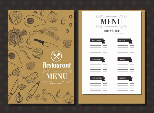 Free Restaurant Menu Templates Lovely Restaurant Menu Template Food Icons Classical Handdrawn
