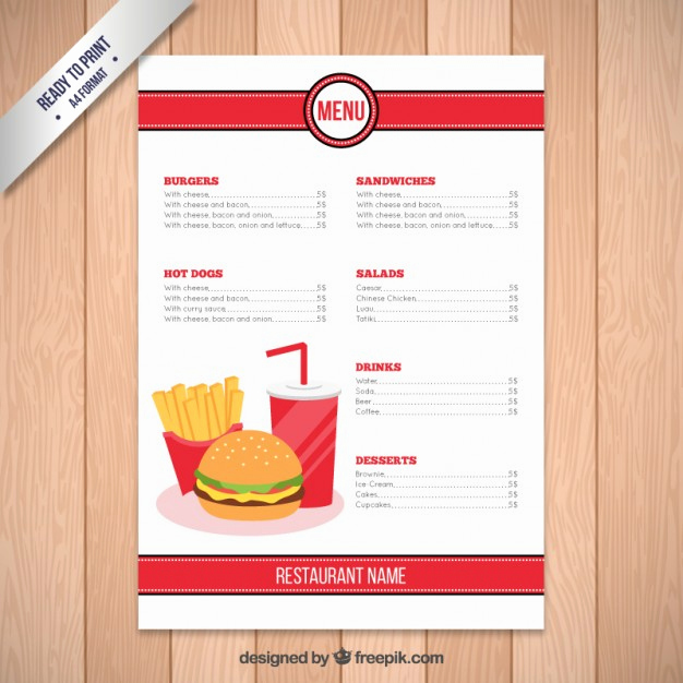 Free Restaurant Menu Templates New Fast Food Restaurant Menu Template Vector