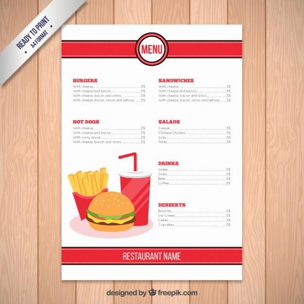Free Restaurant Menu Templates New Fast Food Restaurant Menu Template Vector