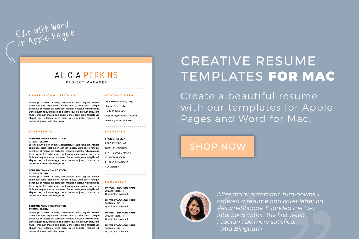 Free Resume Templates for Mac Elegant Resume Templates for Mac Word & Apple Pages Instant