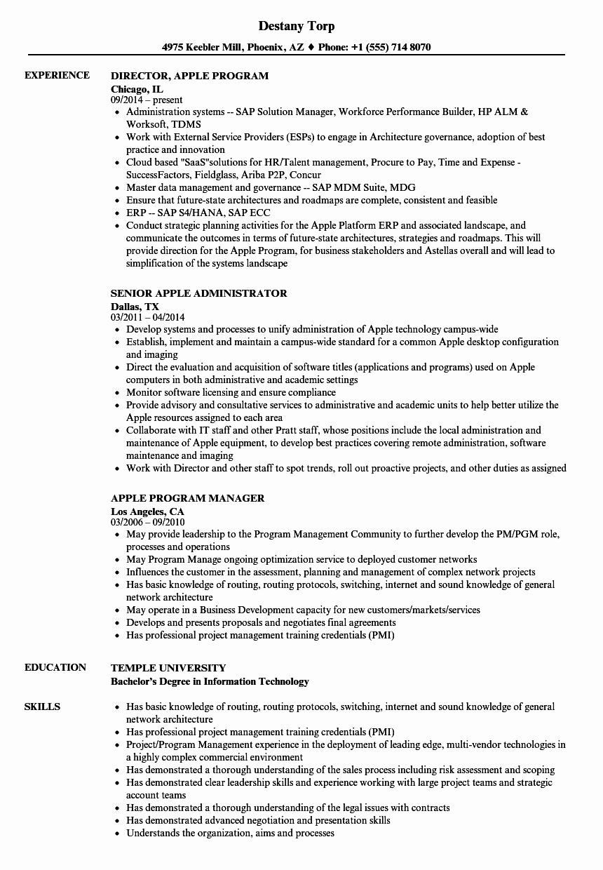 Free Resume Templates for Mac Inspirational Apple Resume Samples