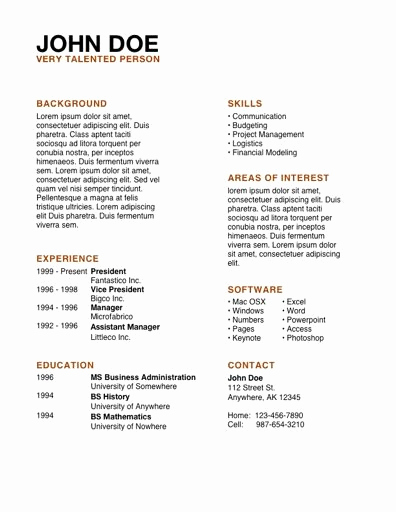 Free Resume Templates for Mac Lovely Cv Examples Pdf Google Search for Volunteer