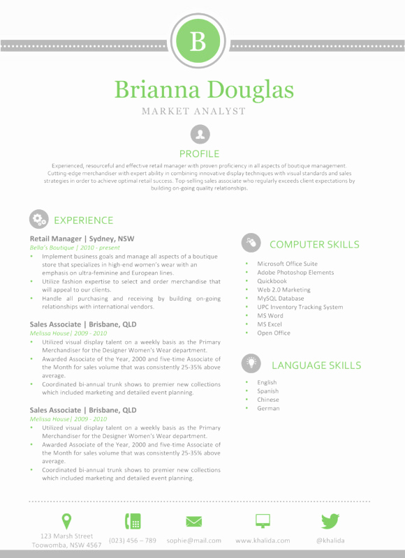 Free Resume Templates for Mac Unique the Brianna Resume Green and Clean Template