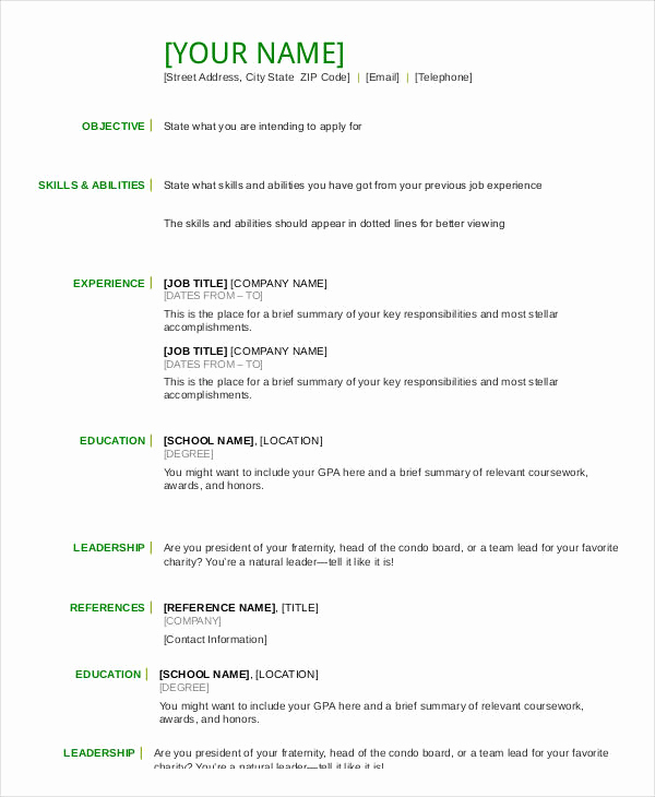 Free Resume Templates Pdf Fresh Resume In Word Template 24 Free Word Pdf Documents