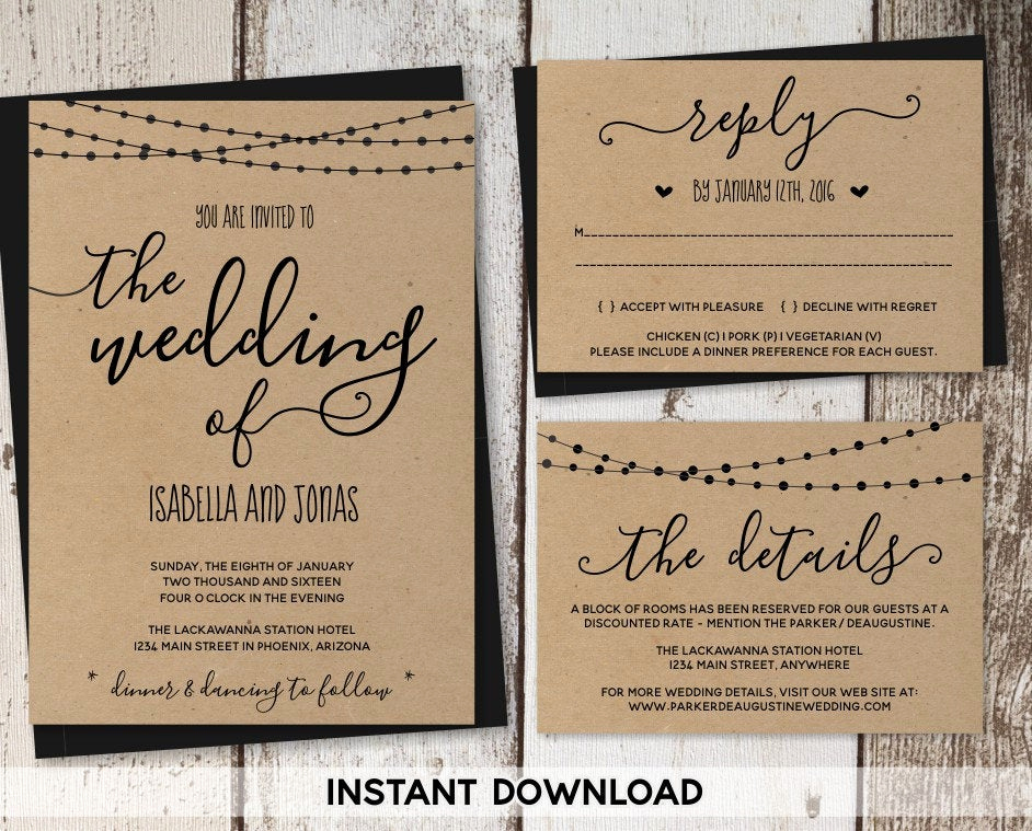 Free Rustic Wedding Invitation Templates Best Of Wedding Invitation Template Rustic Printable Set String