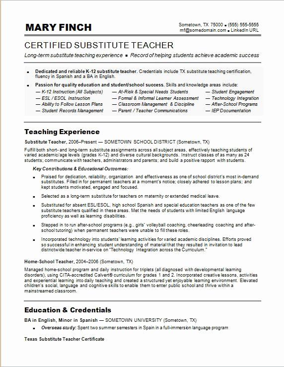 Free Sample Resume for Teachers Beautiful Substitute Teacher Resume Sample