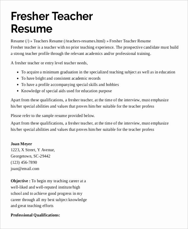 Free Sample Resume for Teachers Best Of 9 Preschool Teacher Resume Templates Pdf Doc