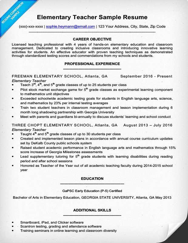 Free Sample Resume for Teachers Elegant Resume Example for A Elementary Teacher