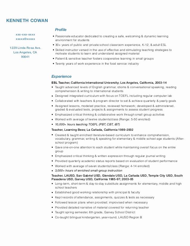 Free Sample Resume for Teachers Fresh Teacher Resume