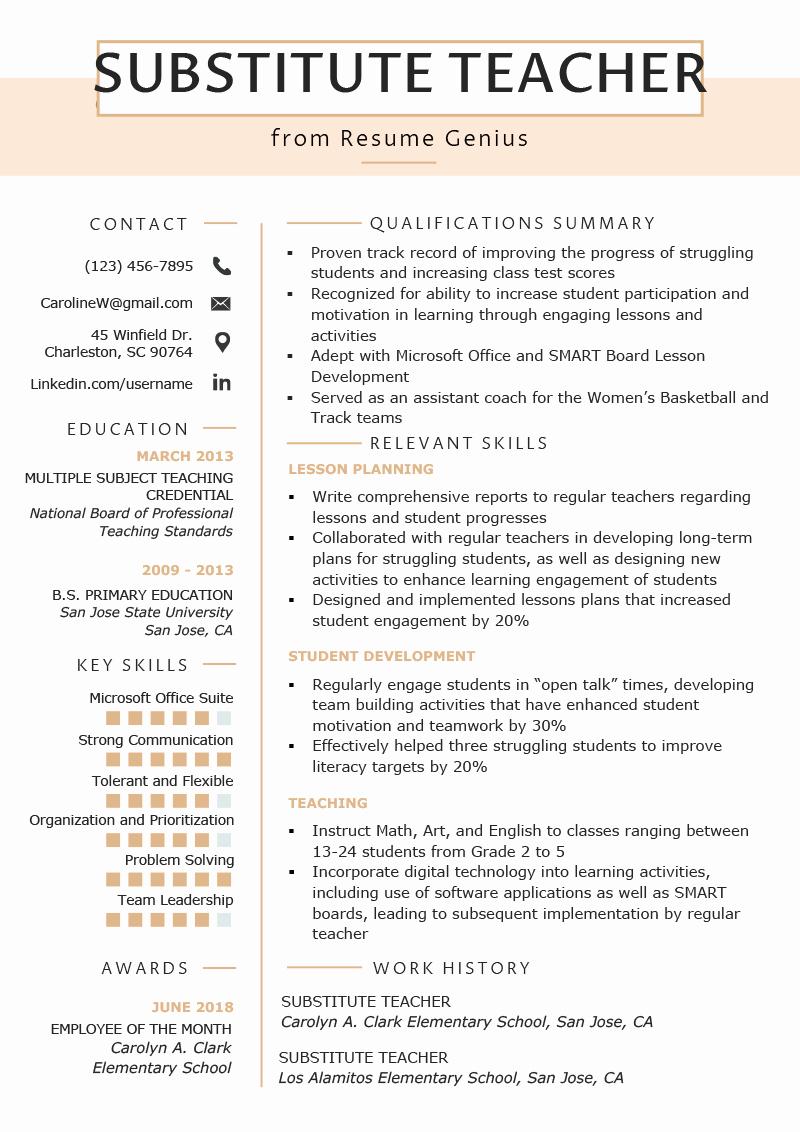Free Sample Resume for Teachers Luxury Substitute Teacher Resume Samples & Writing Guide
