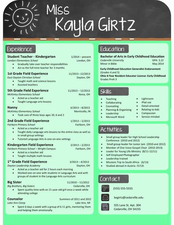 Free Sample Resume for Teachers Unique Elementary Teacher Chalkboard Resume by Resumerenovations