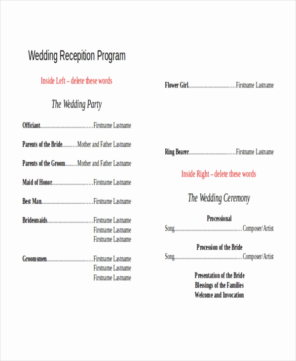 Free Sample Wedding Programs Templates Awesome 10 Wedding Program Templates Free Sample Example