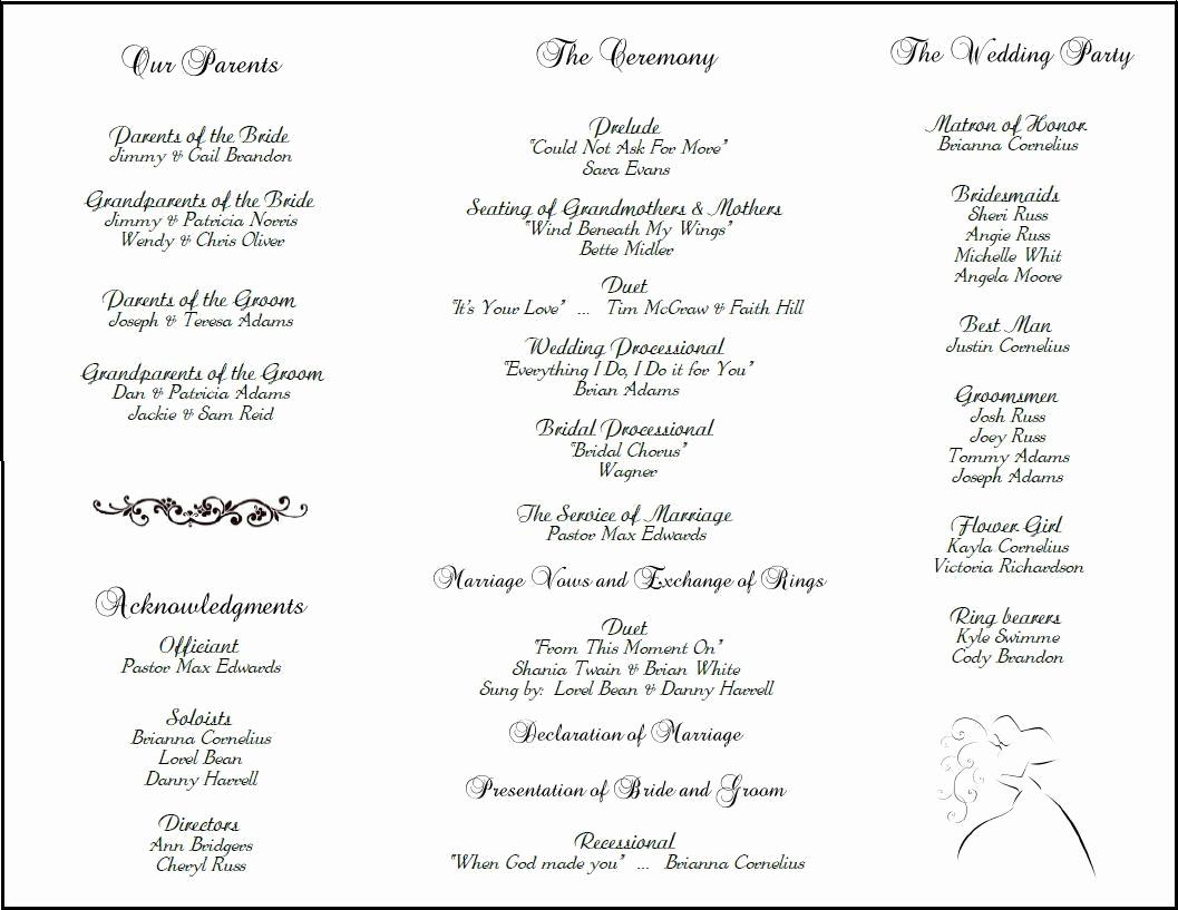 Free Sample Wedding Programs Templates Awesome Example Of Wedding Programs