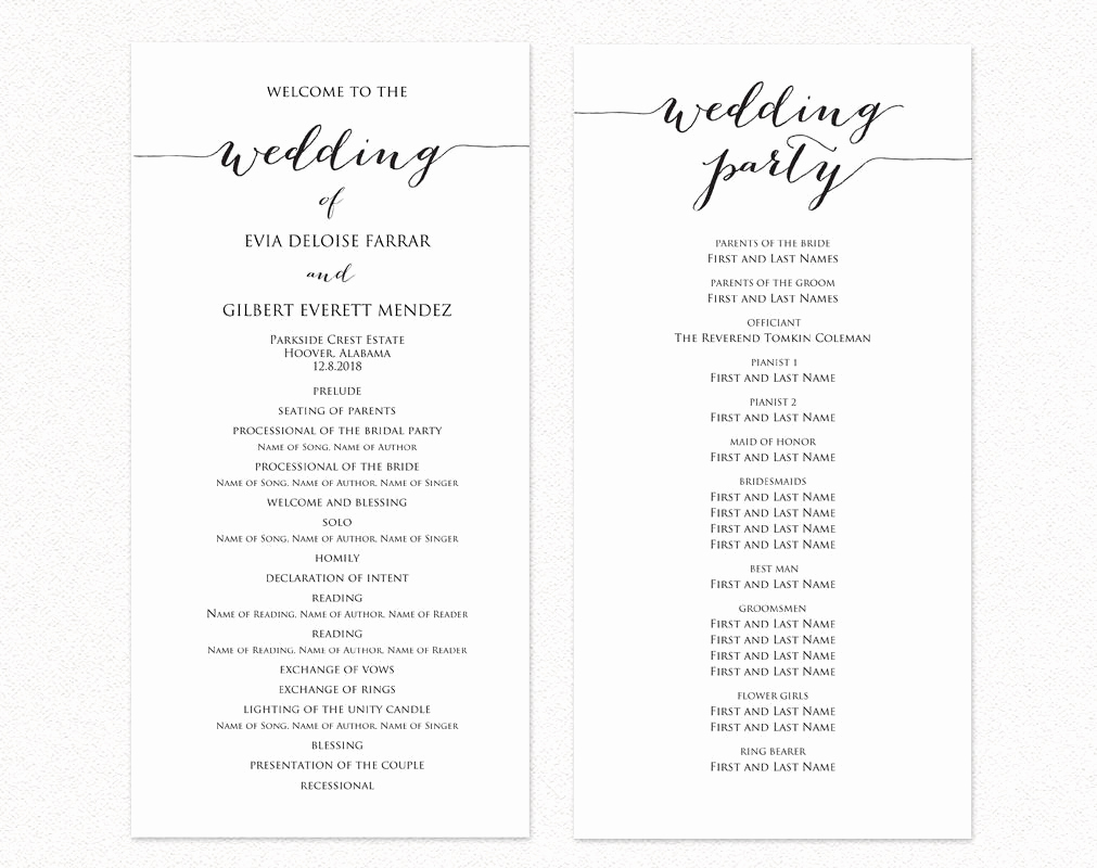 Free Sample Wedding Programs Templates Best Of Wedding Ceremony Program Templates · Wedding Templates and