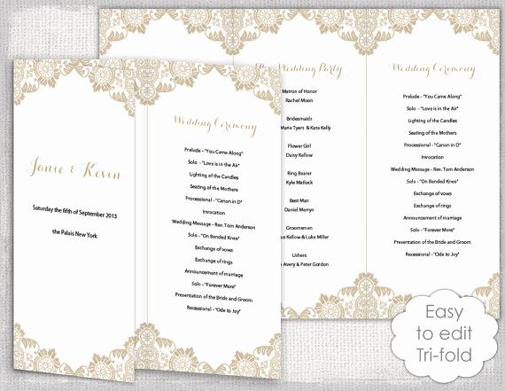 Free Sample Wedding Programs Templates Inspirational Lace Wedding Program Template Antique Lace Diy